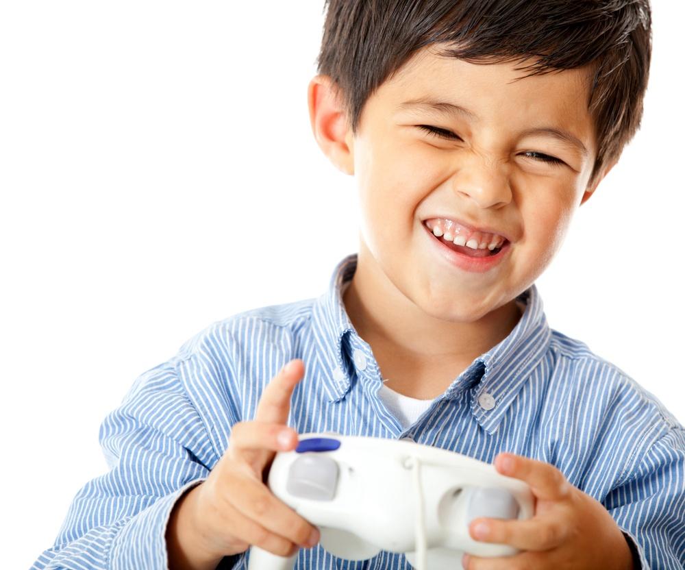 child playing video games enjoying screen time